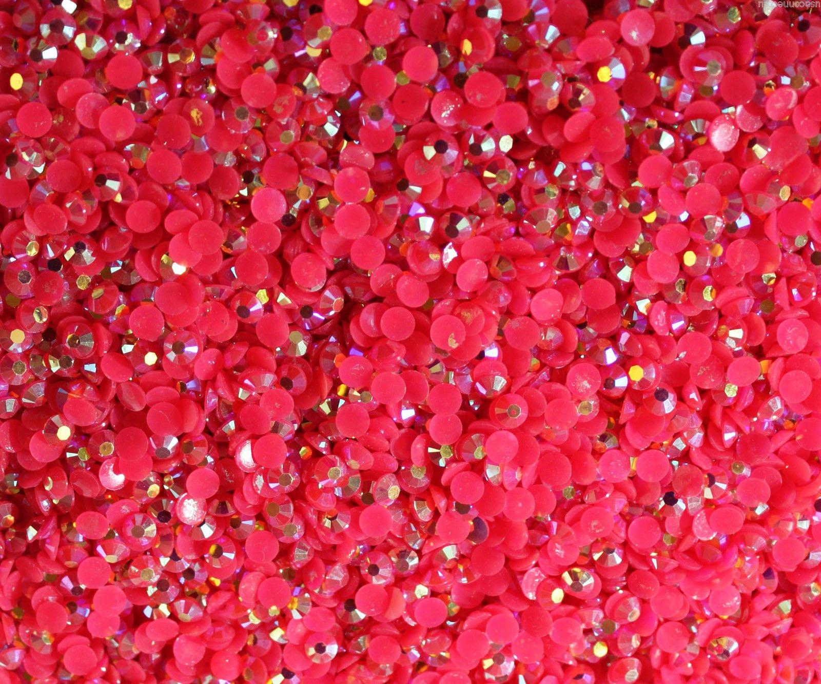 "100% Custom Made (4mm) 1000 Bulk Pieces of Mini Size ""Glue-On"" Flatback Embellishments for Decorating, Made of Acrylic Resin w/ Shiny Iridescent Crafting Rhinestone Crystal Fuchsia Gem Style {Pink}"