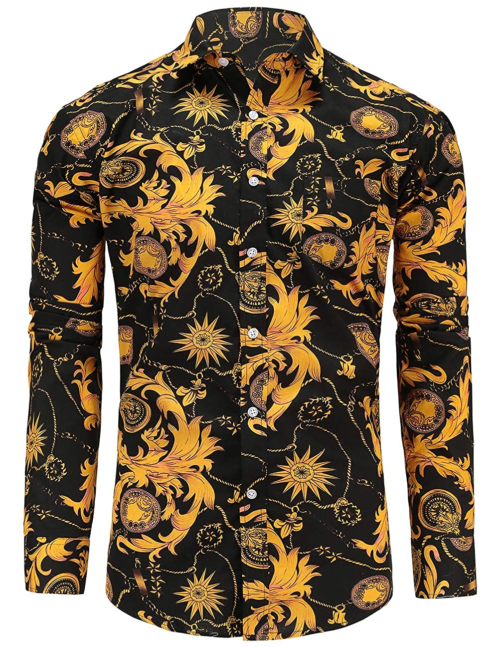 Jandukar - Camisa Casual - Floral - Manga Larga - para Hombre