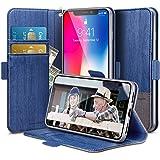 ESR Cover iPhone X [Supporta la Ricarica Wireless], Custodia Portafoglio a Libro da Ecopelle con Porta Carte per Apple iPhone X/iPhone 10 da 4.7 Pollici. (Blu & Grigio)