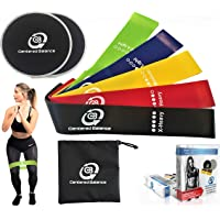 Centered Balance 5 Exercise Loop Resistance Bands and Gliding Discs Core Sliders Free Travel Bag & eBook Gym, Home…