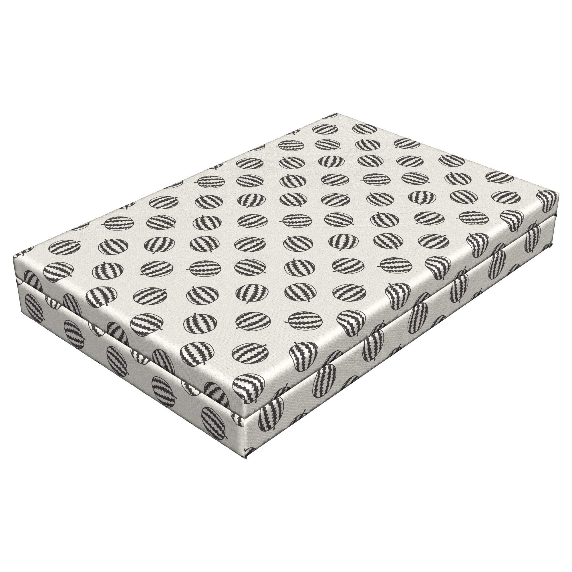 Lunarable Watermelon Dog Bed, Doodle Fruits with Chevron Pattern Summer Season Nature Tropical, Durable Washable Mat with Decorative Fabric Cover, 48'' x 32'' x 6'', Charcoal Grey Eggshell