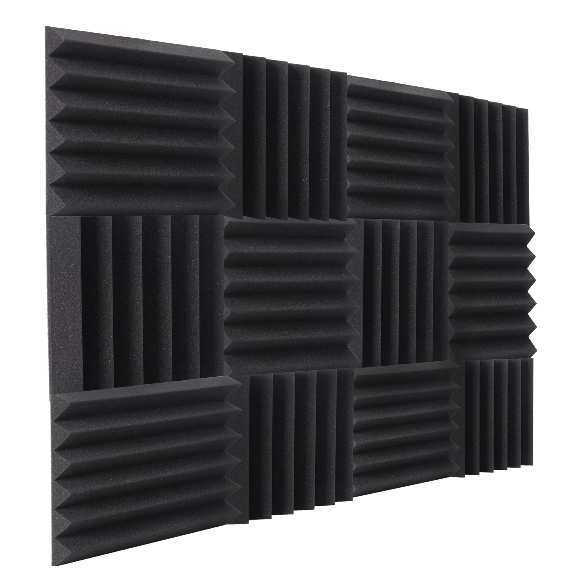 """Double Thick Studio Acoustic Wedge Foam Panels 12 Pack of 12""""x12""""x2"""" (Charcoal) by NRG Acoustic to Remove Noise, Enhance Sound. Wall Foam Panels, Sound Proof Padding for Studios Vloggers, and More."""