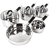 Tower Essentials Pan Set with Silicone Handles, Stainless Steel, 5-Piece