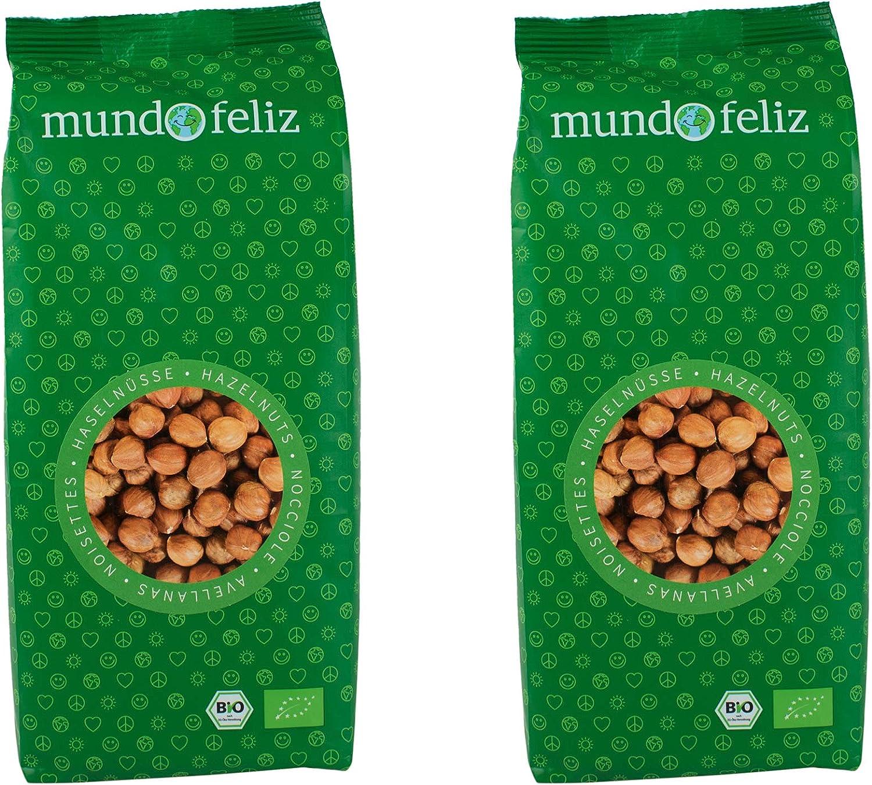 Mundo Feliz - Avellanas ecológicas crudas, 2 bolsas de 500g