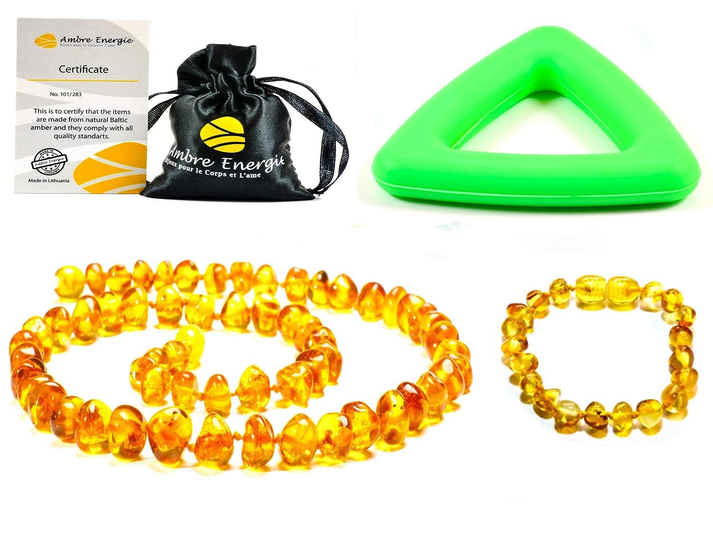 Collar de ambar 33cm + Pulsera (14cm) - De la Má xima Calidad Certificado Genuino Collar de Á mbar Bá ltico / Rá pido Entrega / 100 Dí as de Garantí a de Devolució n de Dinero! (Multi) AmberJewellery