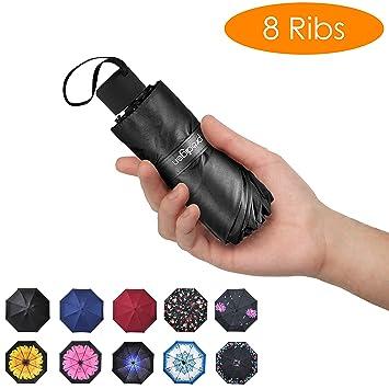 31fa7d6431f6 Prodigen Travel Mini Umbrella Windproof UV Folding Compact Umbrella  Portable Lightweight Sun & Rain Umbrellas for Women and Men