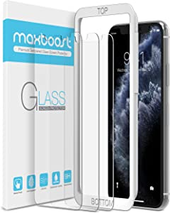 "Maxboost Screen Protector for Apple iPhone 11 Pro Max and iPhone Xs Max (6.5"") (3 Pack, Clear) 0.25mm Tempered Glass Screen Protector w/Advanced HD Clarity/Case Friendly 99% Touch Accurate"
