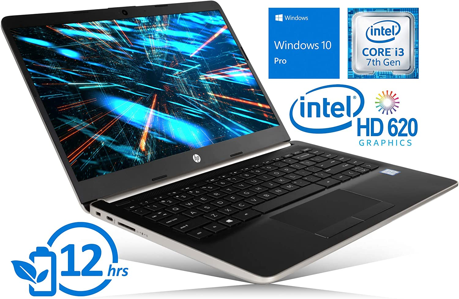 "HP 14"" Laptop, 2.4GHz Intel Core i3-7100U, 8GB RAM, 256GB SSD, HDMI, Card Reader, Wi-Fi, Bluetooth, Windows 10 Pro (Gold)"