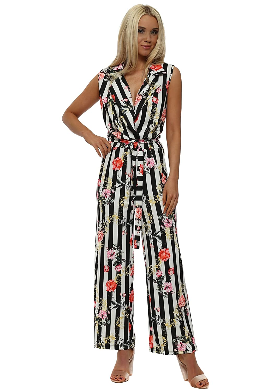 a026d522bec French Boutique Pinstripe Floral Jumpsuit One Size Black  Amazon.co.uk   Clothing