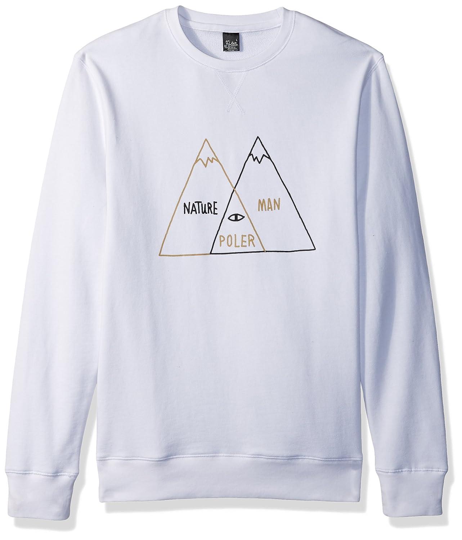 Poler Men's Venn Diagram Crew Neck Fleece-wht-l Sweatshirt, White, Large