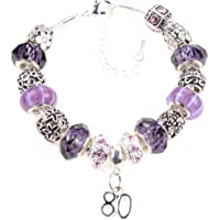 80th Birthday Lilac and Purple Charm Bracelet with Complimentary Gift Box & Birthday Card