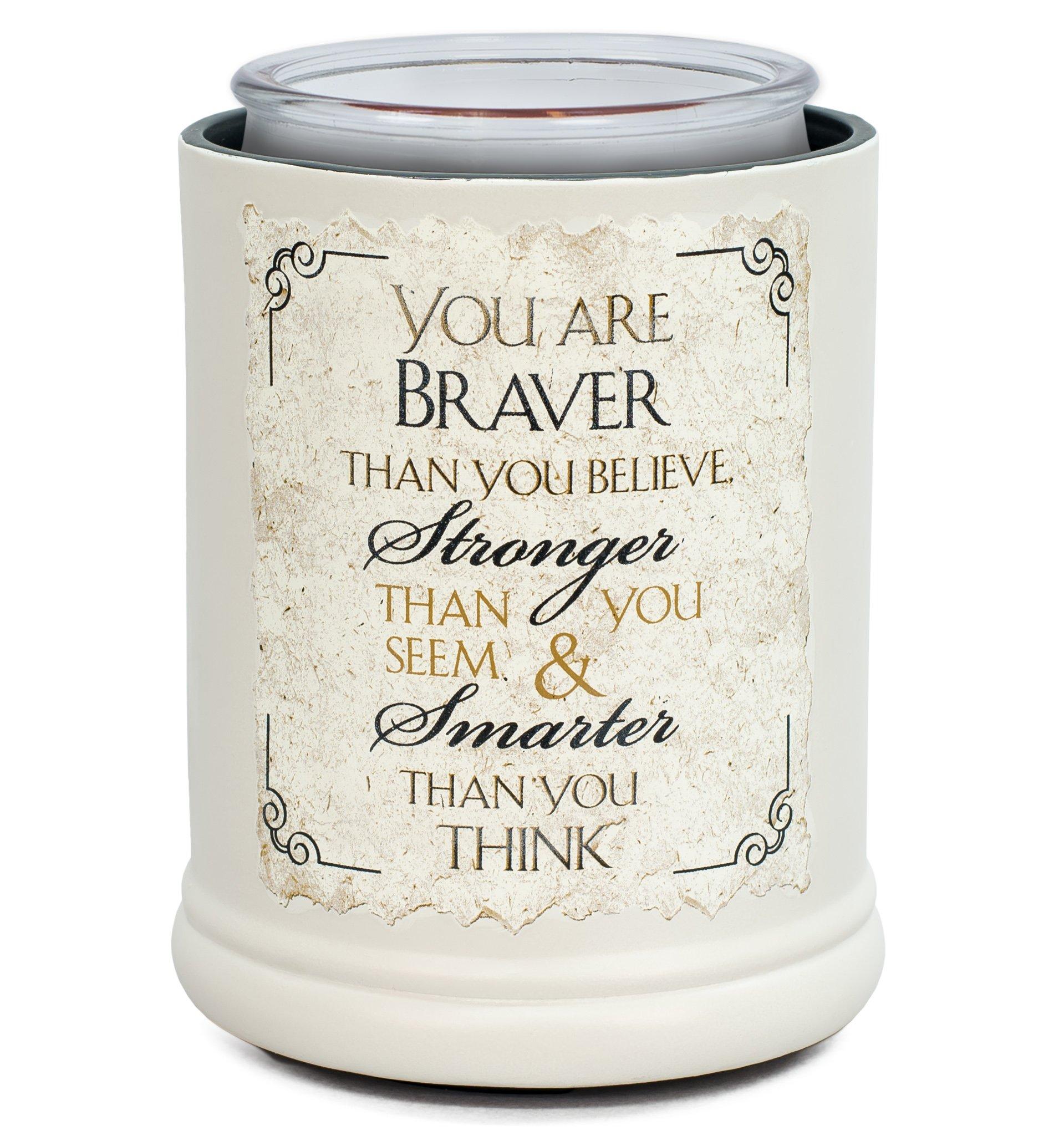 Elanze Designs You are Braver Stronger Smarter Ceramic Stoneware Electric Jar Candle Warmer by Elanze Designs (Image #3)