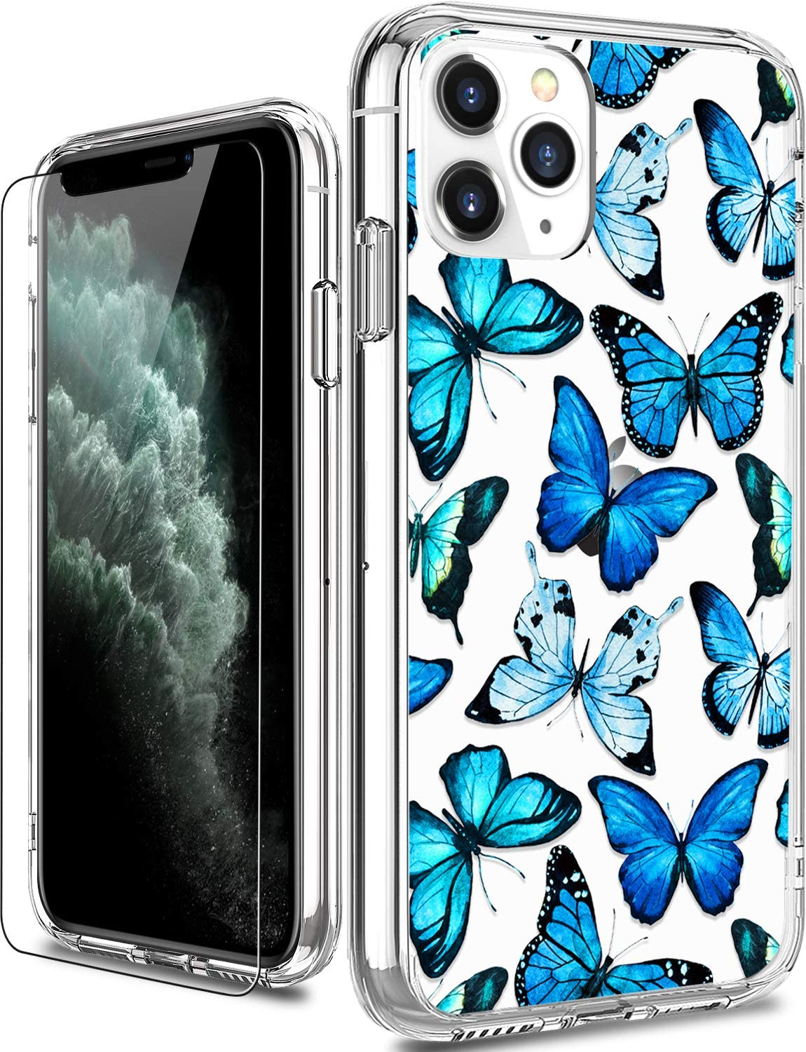 Amazon Com Luhouri Iphone 11 Pro Max Case With Screen Protector Clear With Floral Flower Designs For Girls Women Shockproof Slim Fit Protective Phone Case For Iphone 11 Pro Max 6 5 Inch 2019 Blue Butterflies