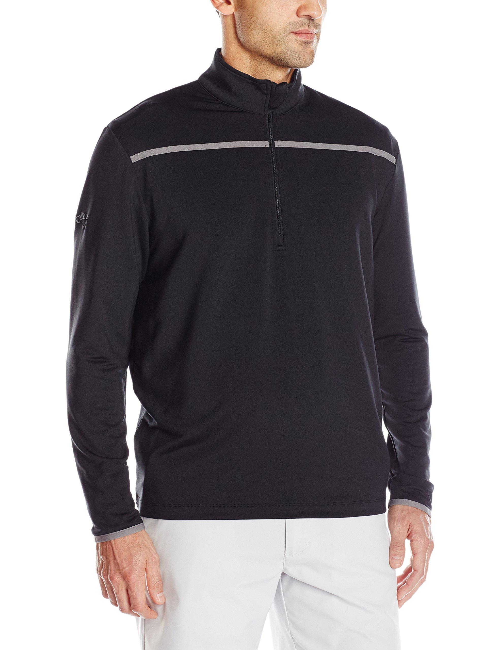 Callaway Men's Golf Chest Stripe Long Sleeve 1/4 Zip Mock Pullover, Black, Large