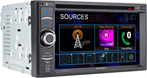 JENSEN CDR462 6.2 inch LED Multimedia Touch Screen Double Din Car Stereo  CD & DVD Player   Push to Talk Assistant   Bluetooth   Steering Wheel Control   USB & microSD Ports