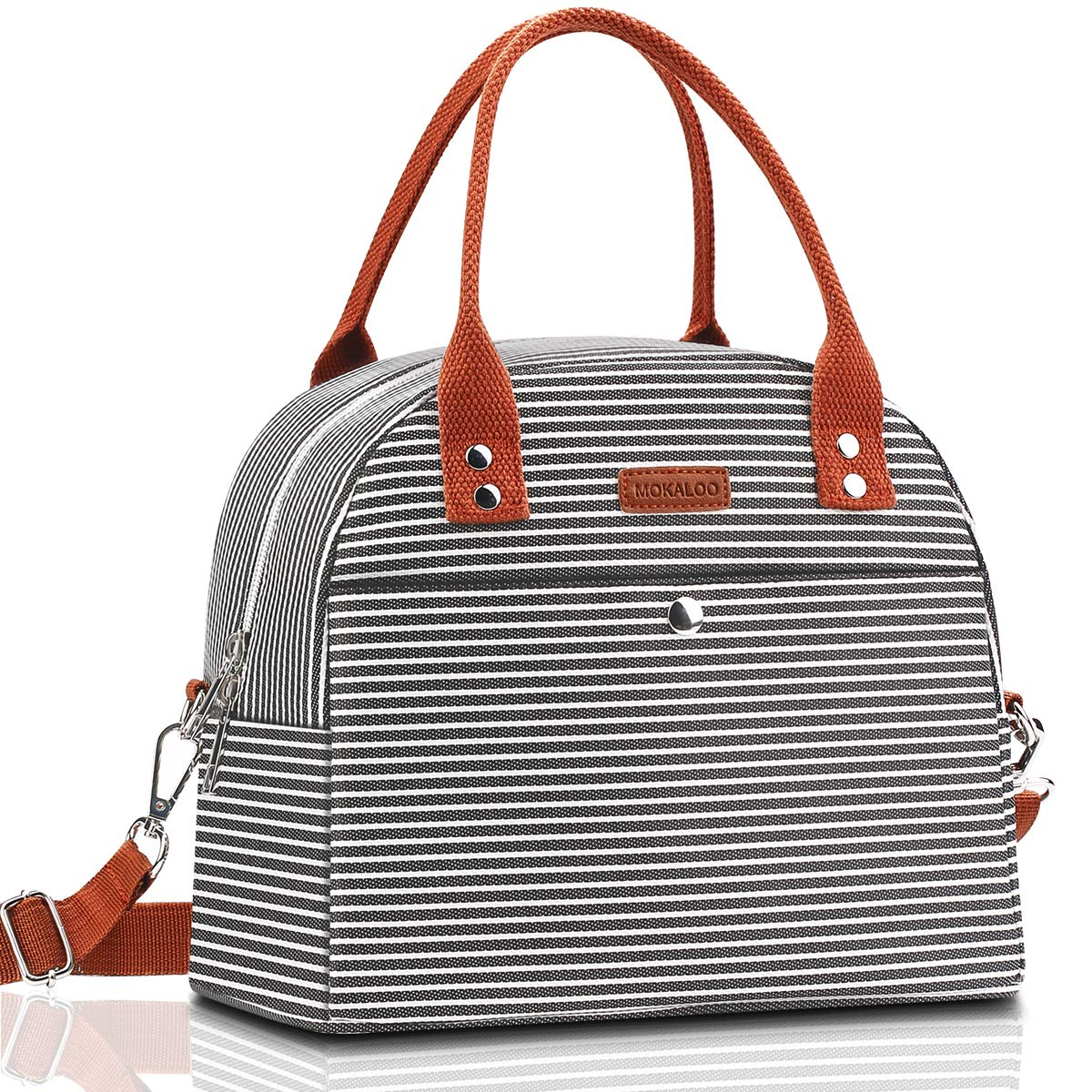 Lunch Bag, Mokaloo Insulated Lunch Box for Women, Multi-functional Lunch Tote Bags with Shoulder Strap, Reusable Thermal Cooler Bag Lunch Container for Women Men Work Picnic, Stripe by Mokaloo