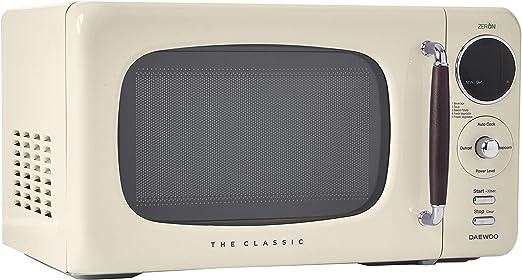 Daewoo KOR07R3ZEC 0.7 cu. ft 700W Retro Countertop Microwave Oven, Cream