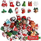 Kalolary Christmas Assorted Craft Resin Ornaments Miniature Ornaments Santa Snowman Tree Bell Resin Decoration for Craft Maki