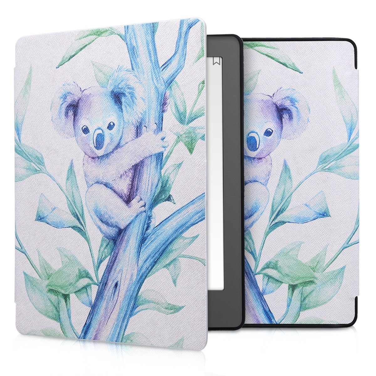 kwmobile Case for Kobo Aura H2O Edition 2 - Book Style PU Leather Protective e-Reader Cover Folio Case - blue violet white