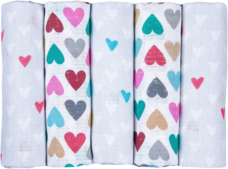 elimeli Gasas para Vómitos paños pañales de tela 5 Pack 75 x 80 100% algodón muselina Small & Big Hearts: Amazon.es: Bebé