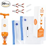 FoReal Design Sous Vide Bags Kit for Anova and Joule Cookers - 20 Reusable BPA Free Sous Vide Bags, 1 Hand Pump, 2 Bag Sealing Clips, and 4 Sous Vide Clips,1 Erasable Marker for Bags, and E-Cookbook
