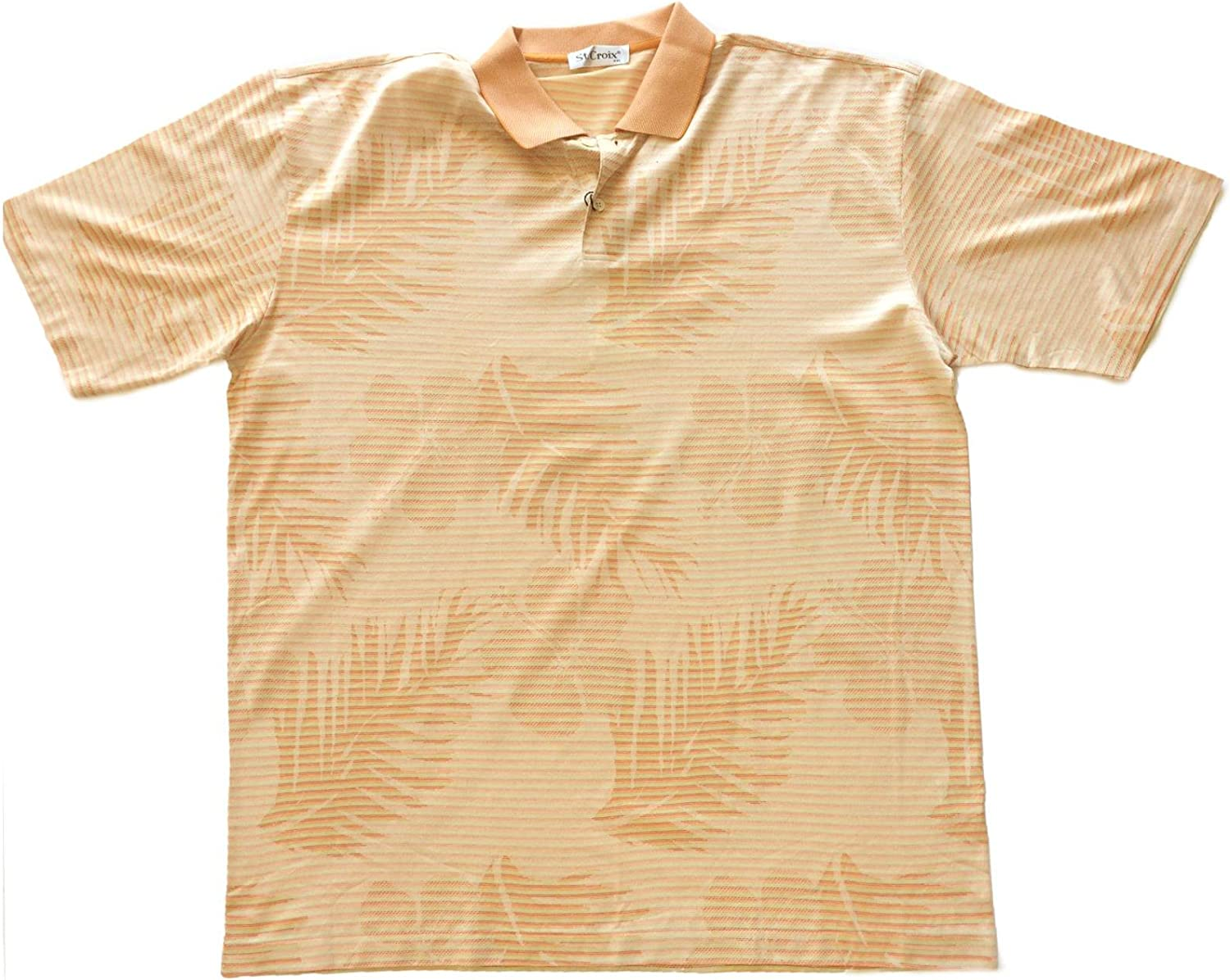 St Croix Mens 2 Button Polo Short Sleeve Shirt in Tangelo Mix XX-Large