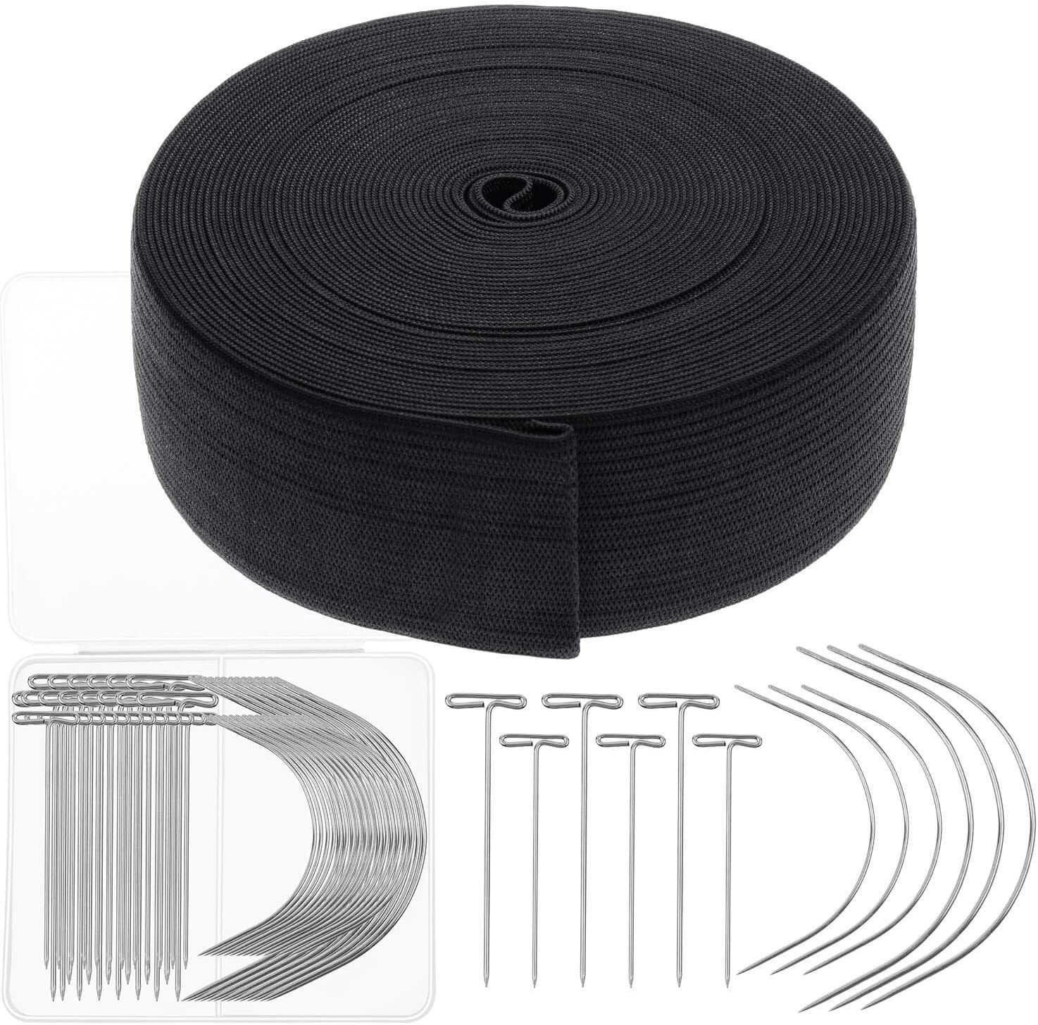 Amazon Com Elastic Band For Wigs Cridoz Black Elastic Wig Band Elastic Strap Spool With 60pcs Weaving Needles And T Pins For Wigs And Sewing 1 5 Inch X 11 Yard