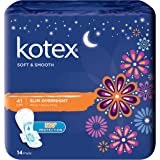Kotex Soft and Smooth Slim Overnight 41cm Pads, 14 Pads