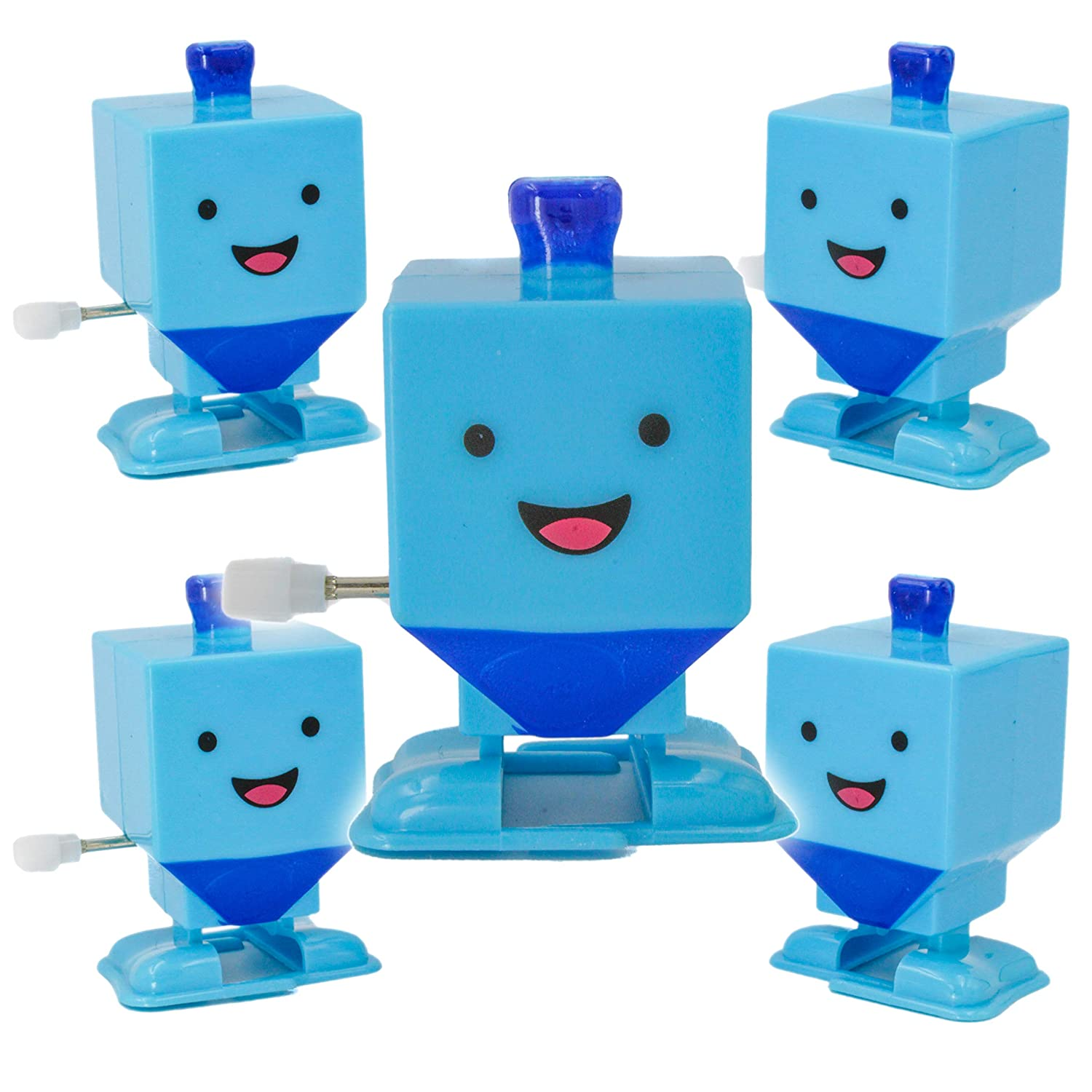 Props for Hanukkah and Gag Shows 2-Pack Dreidel Wind-Up Plastic Toy with Wind-Up Mechanism Supplies Perfect Party Favors