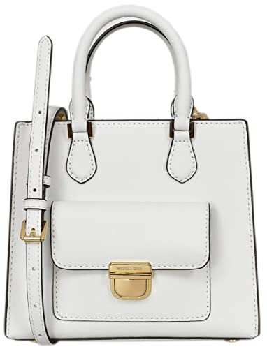 29a143844940 Amazon.com: Michael Kors Small North South Bridgette Messenger Womens  Saffiano Leather Bag Optic White (Optic White): Shoes