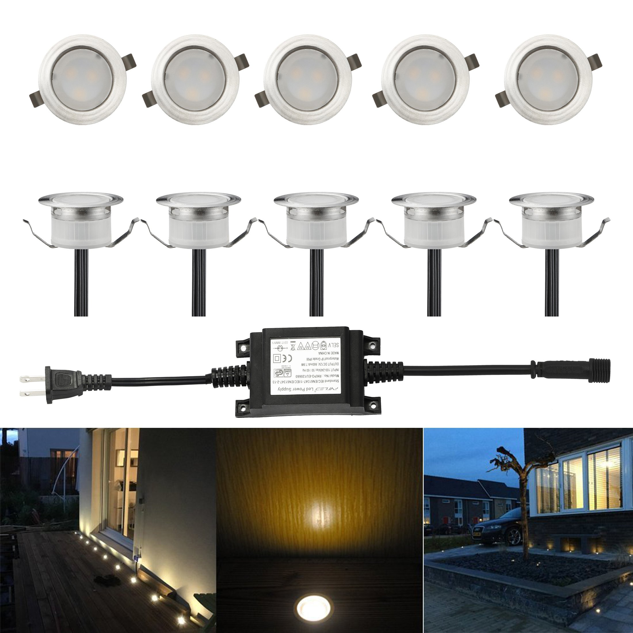 FVTLED Low Voltage LED Deck Light Waterproof Outdoor Garden Yard Decor Lamps Recessed Wood Decking Stair Landscape Pathway LED Step Lighting (10pcs, Warm White)