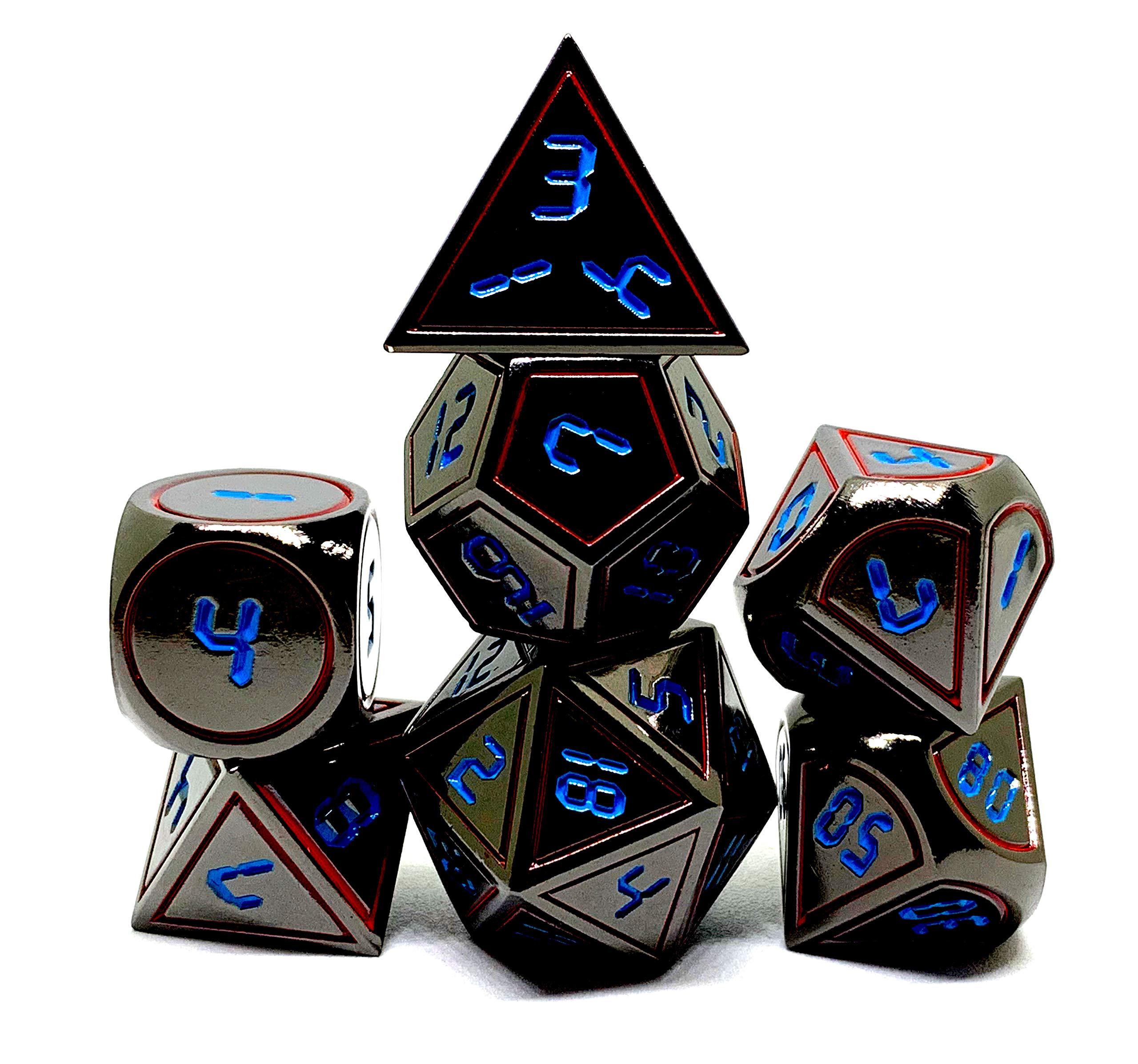 Dark Alpha Metal Polyhedral D&D Dice Set for RPGs by Darksilver Forge