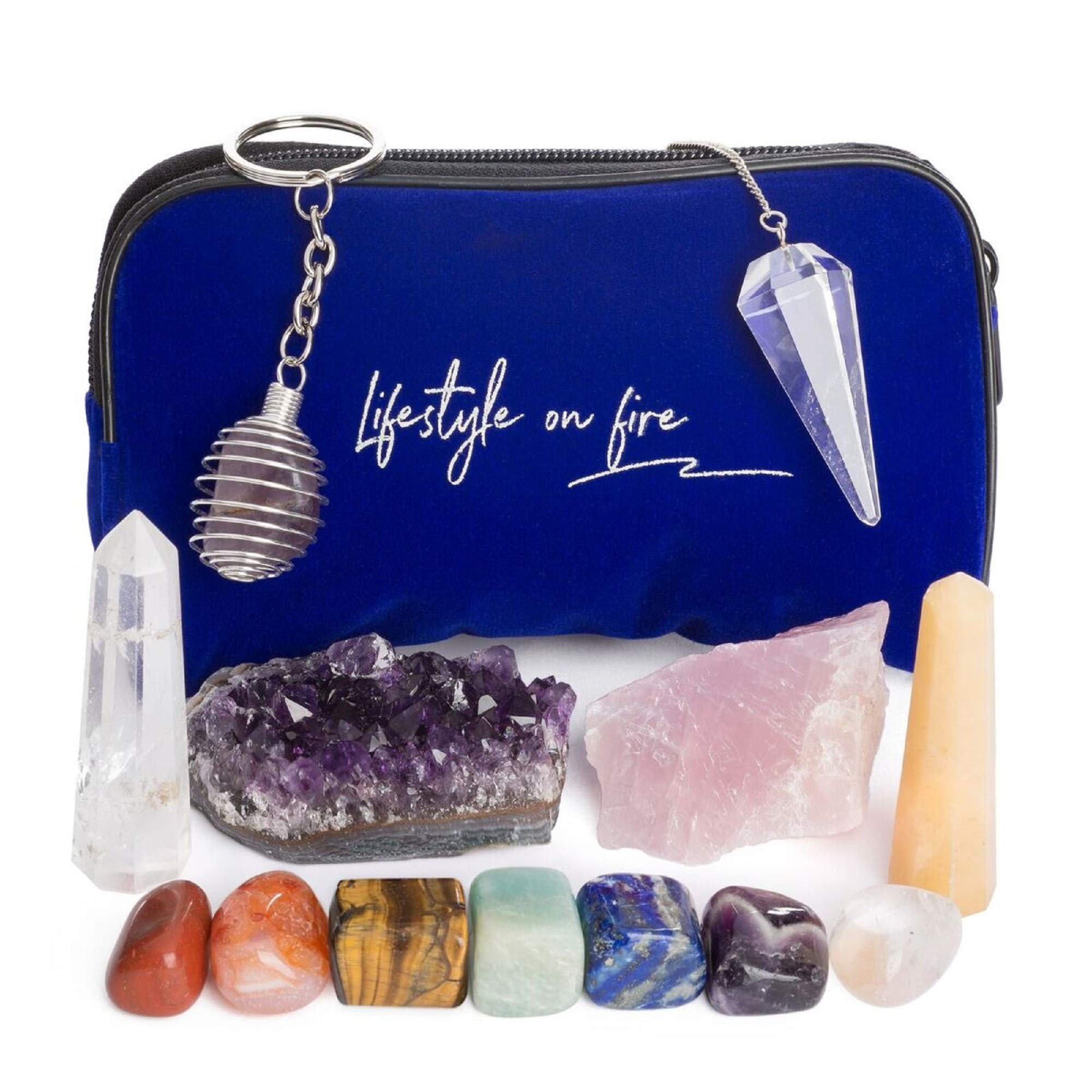 Natural Chakra Stones Set w/ Amethyst Crystal, Rose Quartz, Lapis Lazuli, Clear Quartz Obelisk & Tiger Eye – Chakra Crystals for Reiki, Meditation & Massage – Ebook, Velvet Pouch & Keychain Included! by Lifestyle on Fire