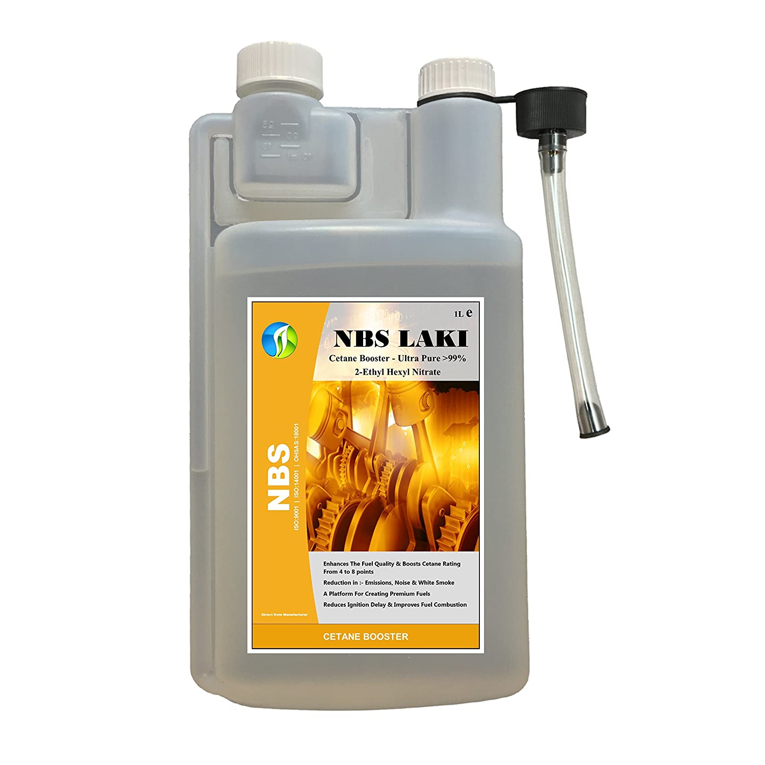 NBS LAKI Cetane Booster Additif diesel ultra pur > 99%, 2-é thyl Hexyl nitrate, 1L 2-éthyl Hexyl nitrate Natures Bio Solutions Ltd.