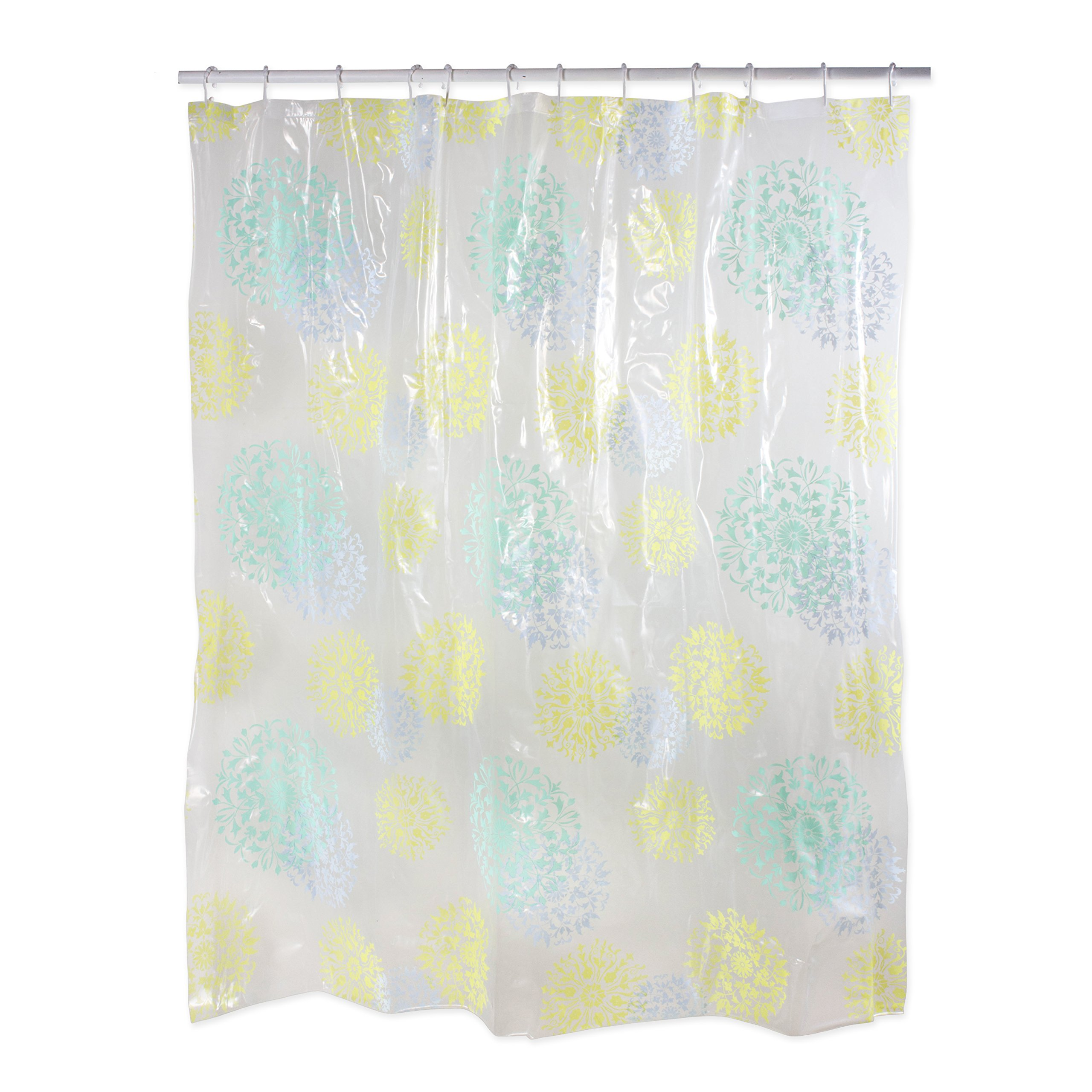 Polyester/PEVA Shower Curtain 70x72'', Antibacterial and Mildew Resistant, Waterproof/Water-Repellent to Resist Germs, Bacteria & Mold for Everyday Use-Botanical by J&M Home Fashions