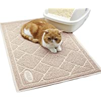 """Vivaglory Non-Toxic Litter Box Mat, Large Size 35""""×23"""" Pet Litter Mat, Soft on Paws, Easy to Clean, Beige"""