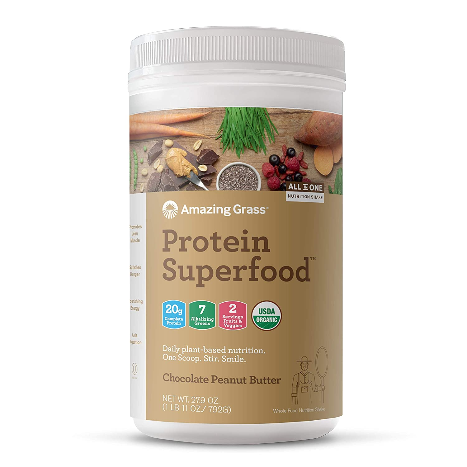 Amazing Grass Protein Superfood: Organic Vegan Protein Powder, Plant Based Meal Replacement Shake with 2 servings of Fruits and Veggies, Chocolate Peanut Butter Flavor, 18 Servings, 27.9 Ounce