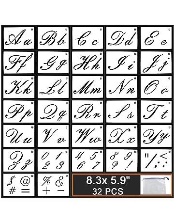 Guwheat Plantillas de letras en madera, plantilla reutilizable de 32 piezas con caligrafía, letras