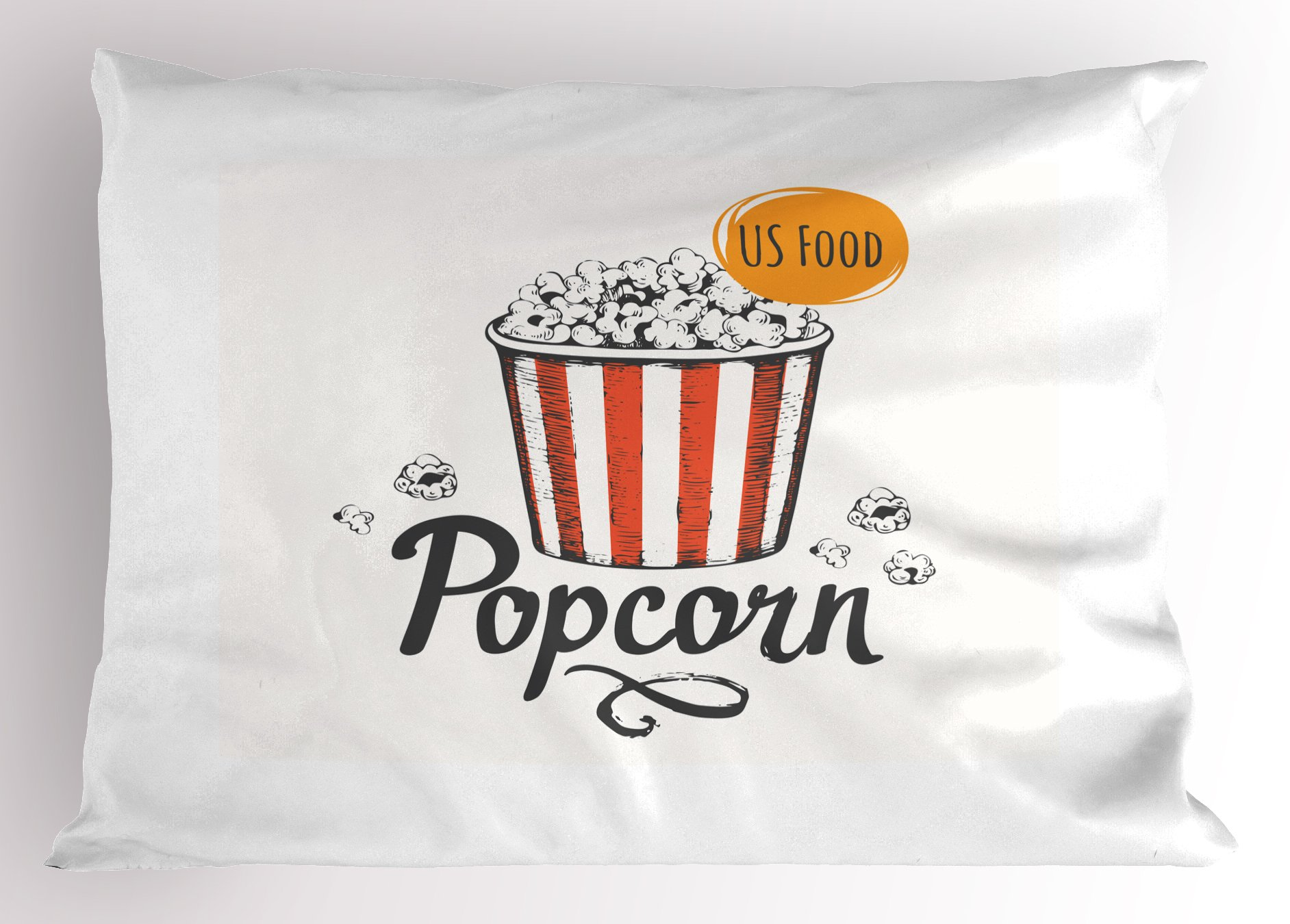 Ambesonne Movie Theater Pillow Sham, Sketch Design Cinema Snack US Fast Food Pop Corn Art, Decorative Standard Queen Size Printed Pillowcase, 30 X 20 inches, Charcoal Grey Vermilion Marigold