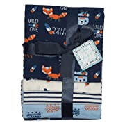 Zak and Zoey 4-Pack Flannel Receiving Blankets Navy/White/Light Blue