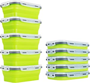 "Collapsibles- 5th Unit ""FREE"" When You Purchase 4 of Our Lemon Lime Environmentally Friendly Collapsible Silicone Food Storage Containers. (5) Large 800ml"
