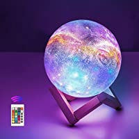 OxyLED Moon Lamp, 16 Colors 4.7 Inch 3D Print LED Galaxy Moon Light Dimmable with Stand Remote Touch Tap Control and USB…