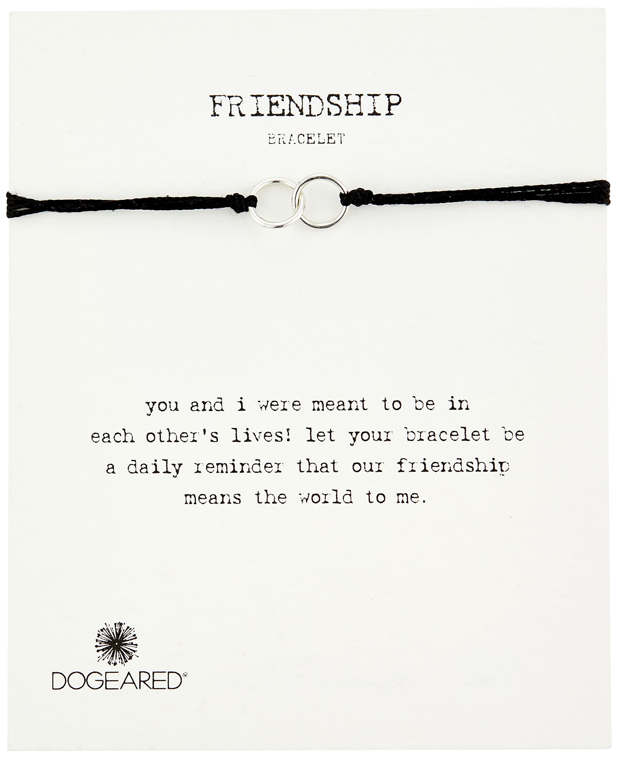 Dogeared Modern Wrist Friendship Double-Linked Rings Black with Adjustable Bead Closure Sterling Silver Bracelet