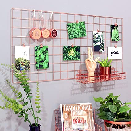 Simmer Stone Rose Gold Wall Grid Panel For Photo Hanging Display U0026 Wall  Decoration Organizer,