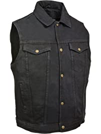 Biker's Edge Men's Shirt Collar Denim Vest (Black, XX-Large)