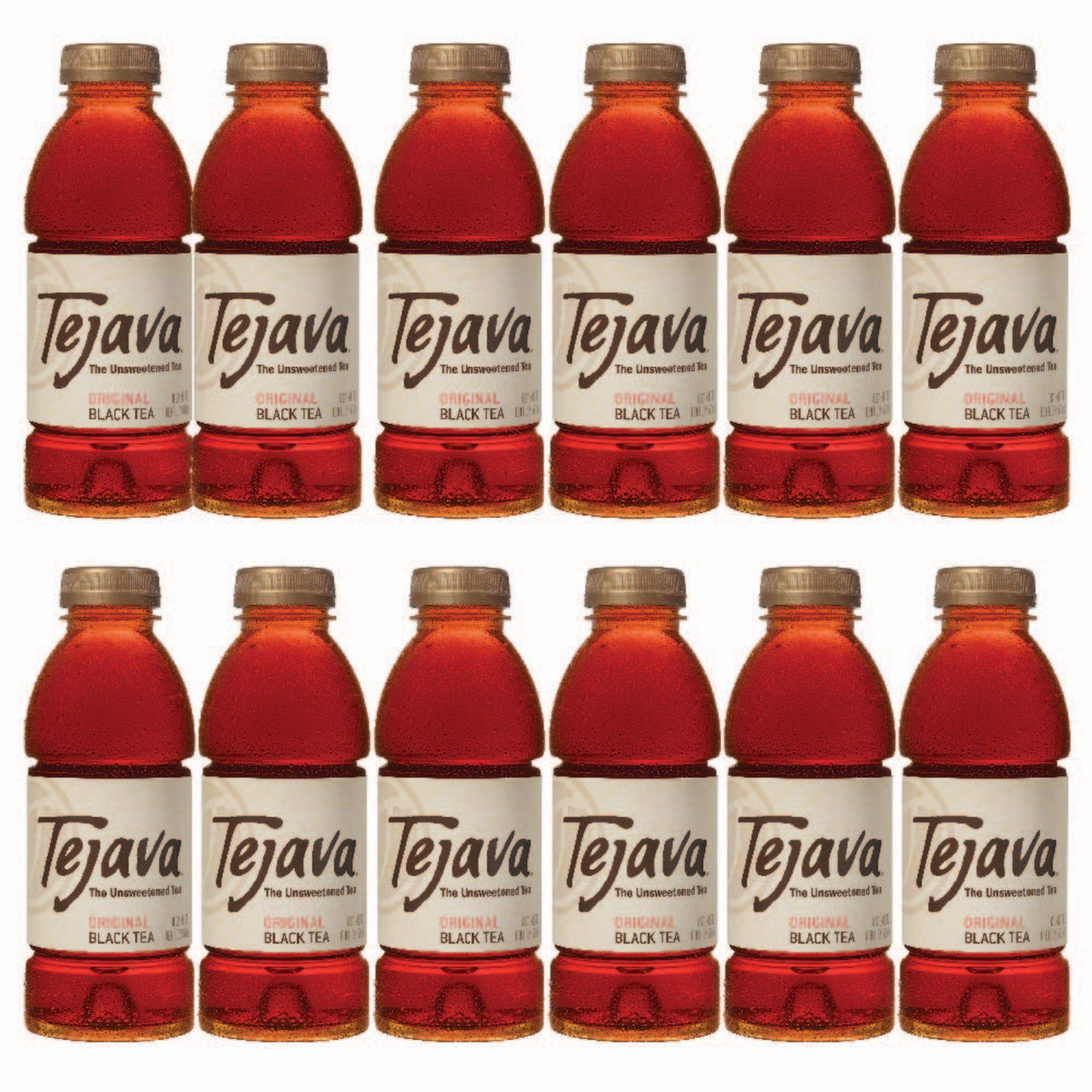 Tejava Original Unsweetened Black Iced Tea, 16.9 oz PET Bottles, Award Winning, Non-GMO-Verified, from Rainforest Alliance-Certified farms (12 Pack) by Tejava
