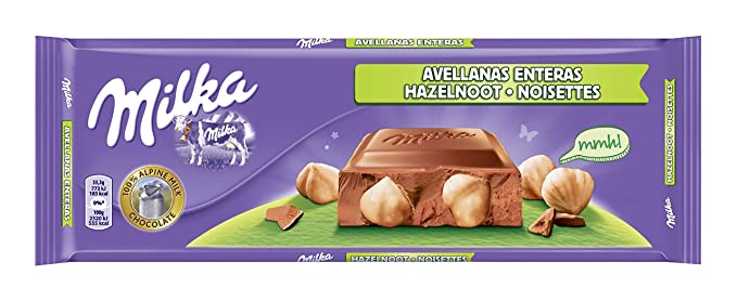 Milka tableta de chocolate leche con frutos secos enteros(e300g)