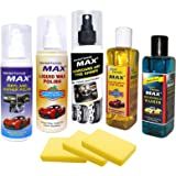 MAX Complete Car Care Kit (Dashboard/Tyre Shiner, Liquid Wax, Vinyl/Leather Polish, Windshield Washer, Car Shampoo - 200 ML Each and Foam 3 Pieces)