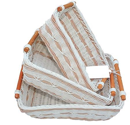 rt430712 - 3 cestas de almacenamiento cuadrados de mimbre/rota pan ...