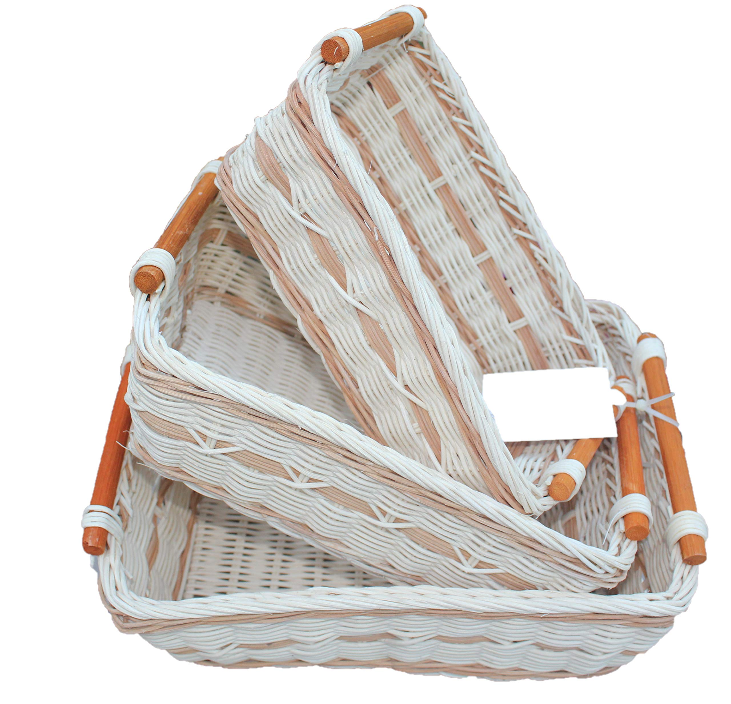 ShopOnNet RT430712-3 Handwoven Retangular Wicker Storage Basket with Handle in Cream and Brown (Set of 3) - Sold as a set of three. Handwoven eco-friendly wicker basket with durable rattan wicker material and each comes with a curve pole handle on each end of the basket. These wicker baskets are also stackable, making storage easy and convenient. Make organizing any room in your home easy with this basket. These Wicker baskets are handcrafted therefore they may vary slightly in sizes. Dimension: * Large size: L11.8 inches x W9.1 x H4.0 inches; - living-room-decor, living-room, baskets-storage - 81lzgdeostL -